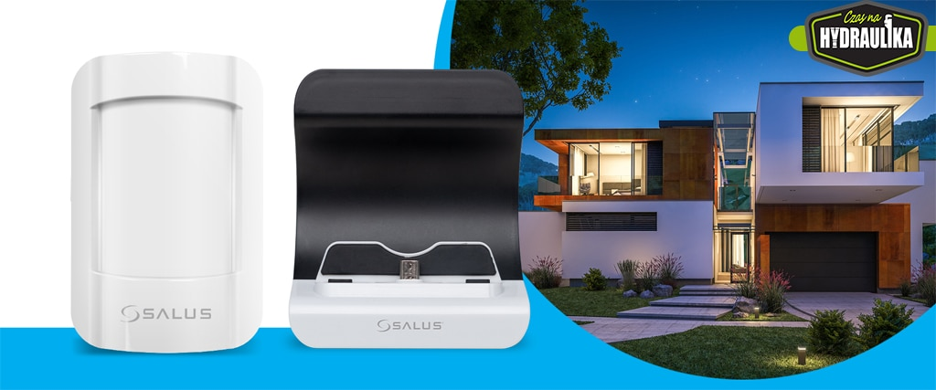 dwa produkty z serii salus smart home z lewej strony, na białym tle. W tyle dom, a nad nim logo Czas Na Hydraulika
