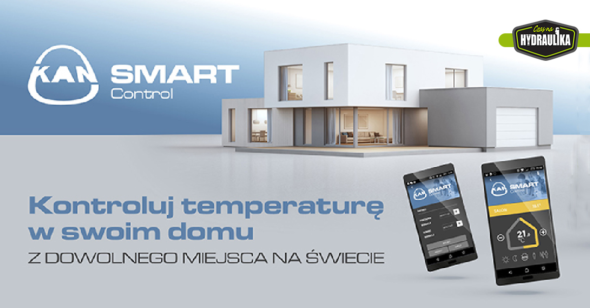 telefony z aplikacją KAN SMART Control, na tle domu